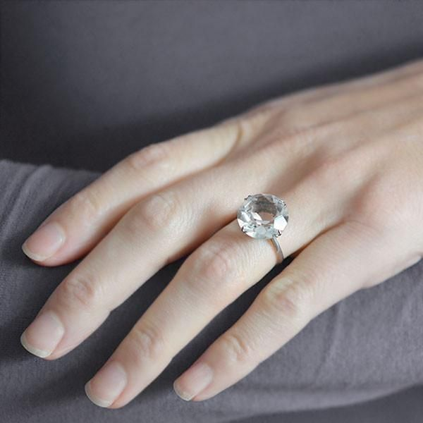 Late Art Deco Silver Rock Quartz Crystal Solitaire Ring Blue