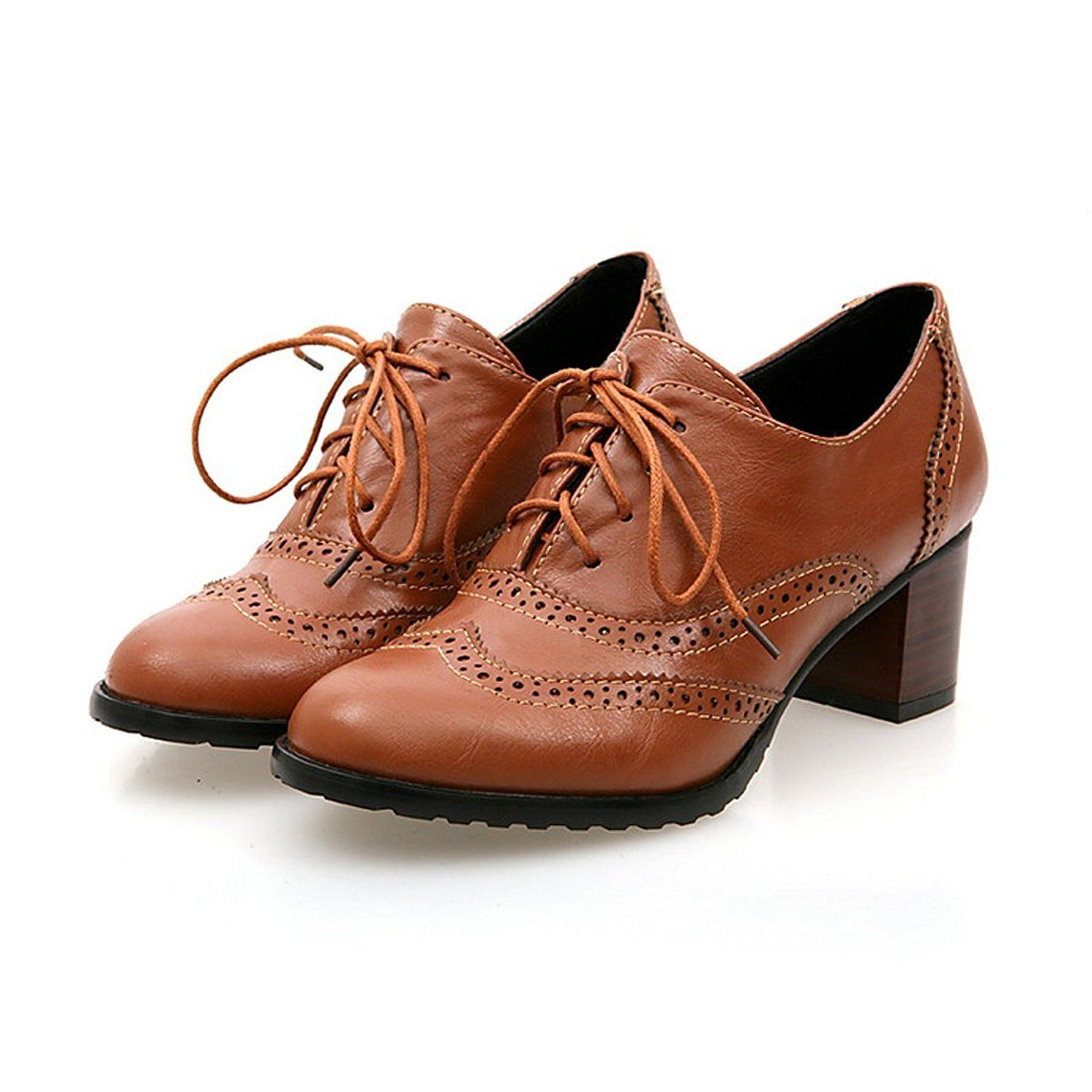 brogue shoe womens lace up mid heel wingtip