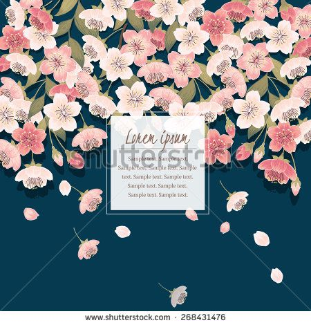 Vector illustration of a beautiful floral border with cherry blossom tree branches. Indigo background