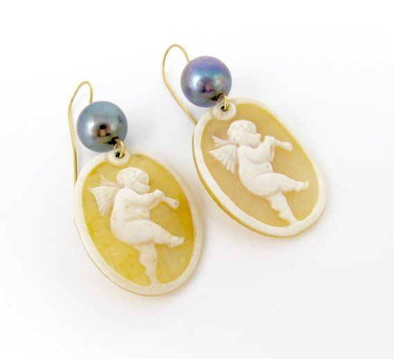 e41c9eb1a 14K Carved Cameo Pearl Earrings. Cupid Cherub Playing Horn Unframed Cameo  Gray Pearl Rose Gold Wire