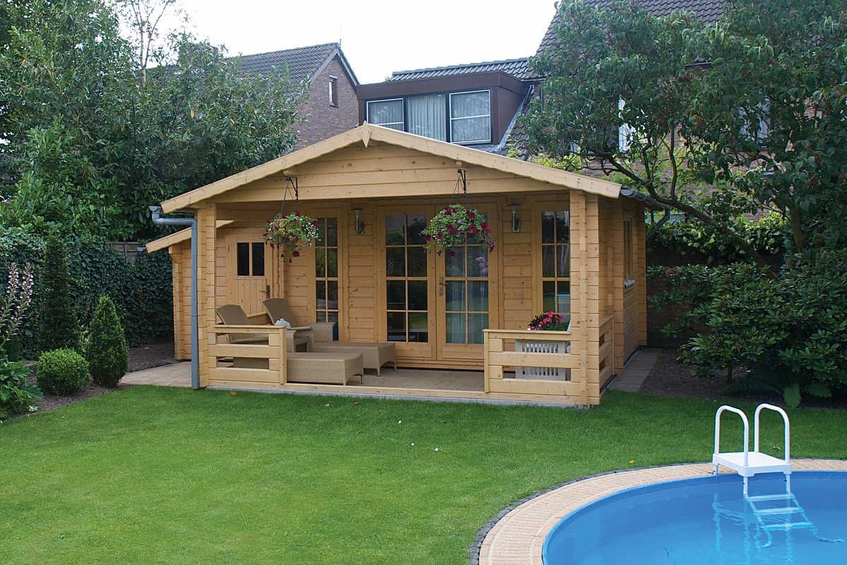 tuin deco erke log cabin with shed 5 85m x 3 3m tuinhuis en