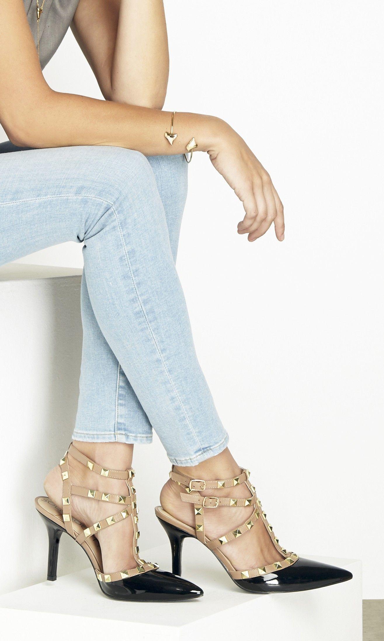 4123fc114c5b Elegant studded slingback heels