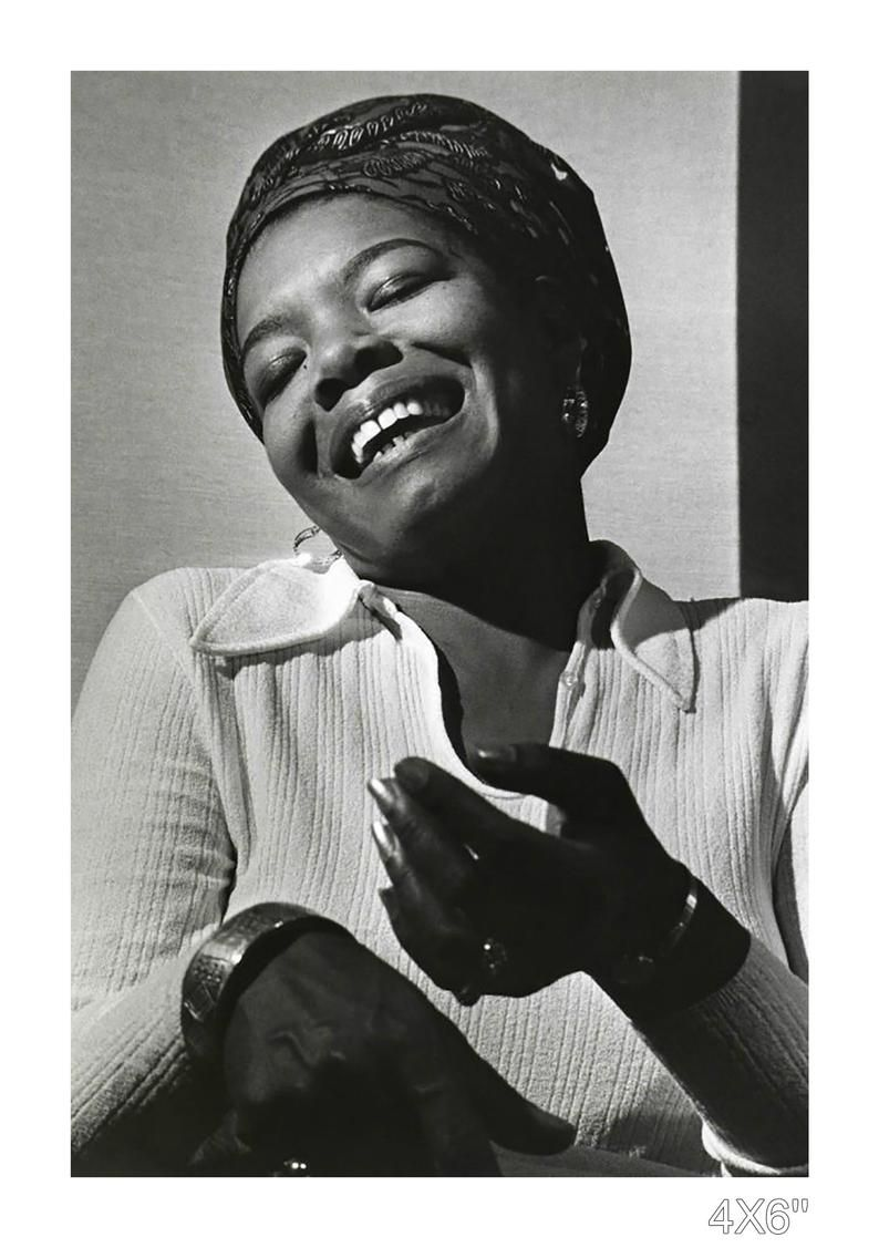Maya Angelou laughing vintage photograph. Housewarming gifts, retro walls, photos of great feminists, gifts for empowerment, powerful women