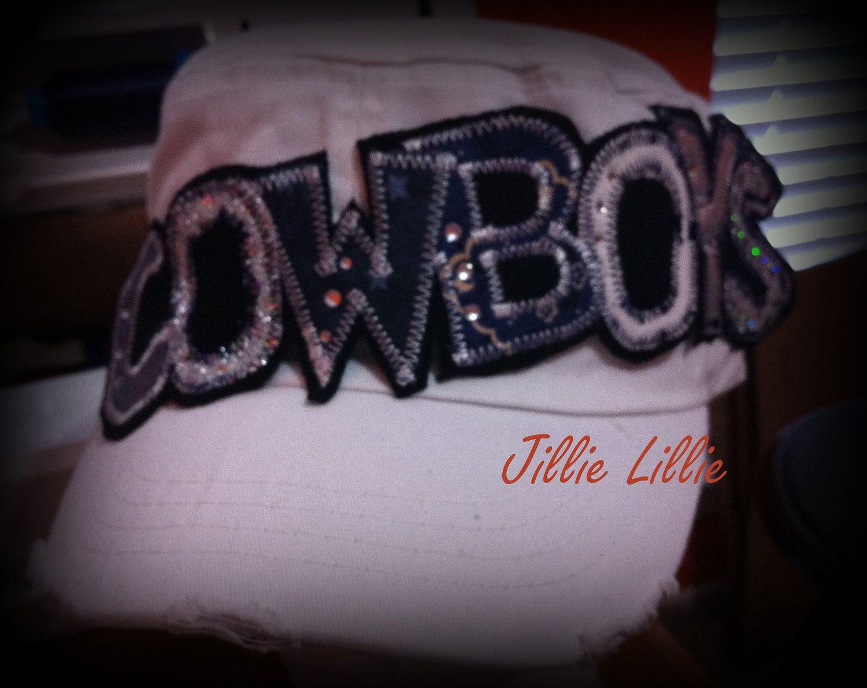 Dallas Cowboys hat cadet white navy bling by JillieLillie on Etsy, $27.00