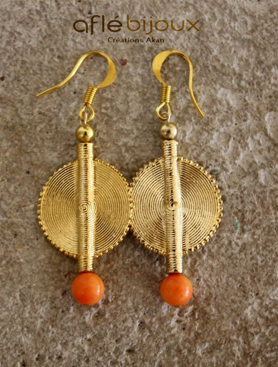 Aflé Bijoux African Earrings Orange Coral Earrings #aflebijoux #bijoux #etsy #jewelry