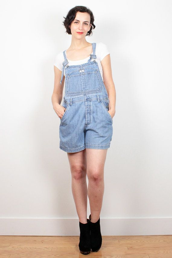 92023a26e434 Vintage 90s Overall Shorts CK Calvin Klein Denim Overalls 1990s Soft Grunge  Worn Jean Jumper Romper