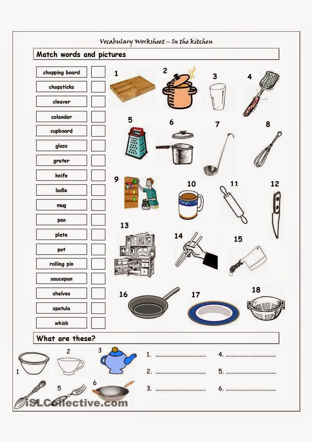 Vocabulary worksheet containing KITCHEN vocabulary  It has two sections   Match words and pictures  matching exercise  and Write the Words  creative. download furniture images vocabulary   Buscar con Google