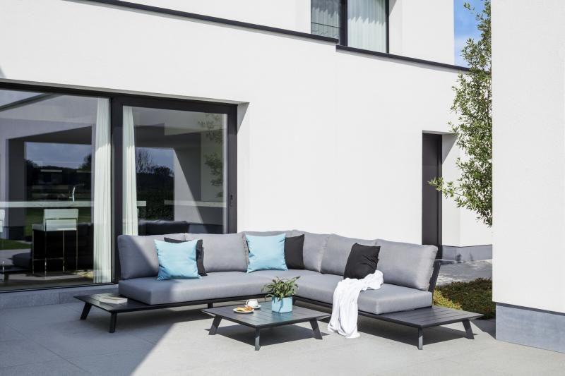 Luxe Loungeset Zwart.Puglia Loungeset Zwart Aluminium Overstock Garden Tuinmeubelen