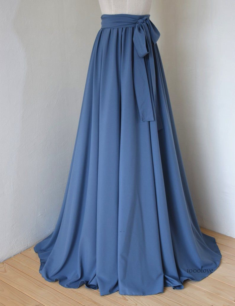 Photo of Dusty blue adult floor length adult skirt,full length women wedding skirt, bridesmaid dresses with sash