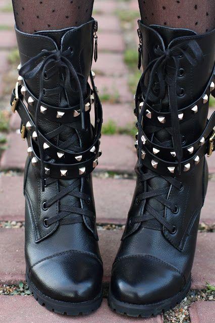 Black combat boots, studs, and polka dot tights