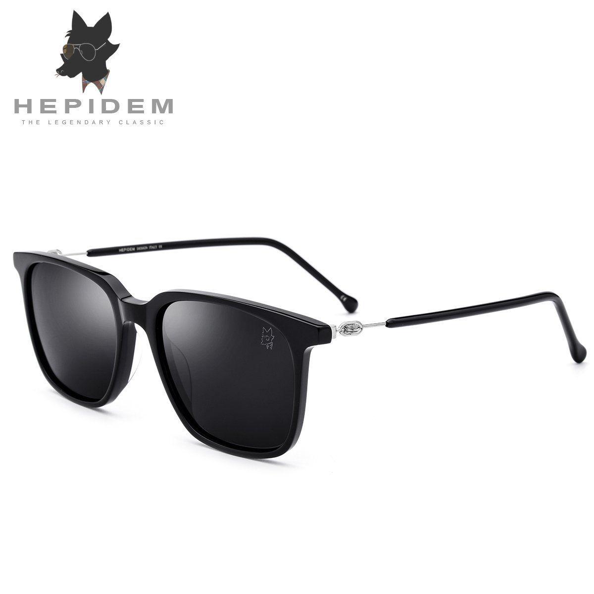 4fe2b55f546 HEPIDEM New Acetate Square Sunglasses Men Driving Mirrored for Women Brand  Designer Polarized Sunglass 5203