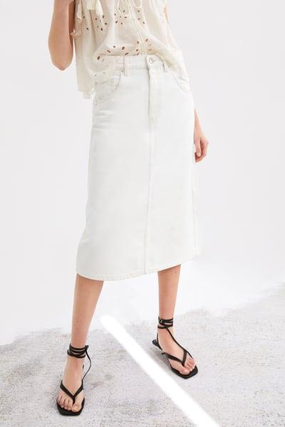 6f0797767d Denim midi skirt in 2019   Products   Skirts, Midi skirt, Denim trends