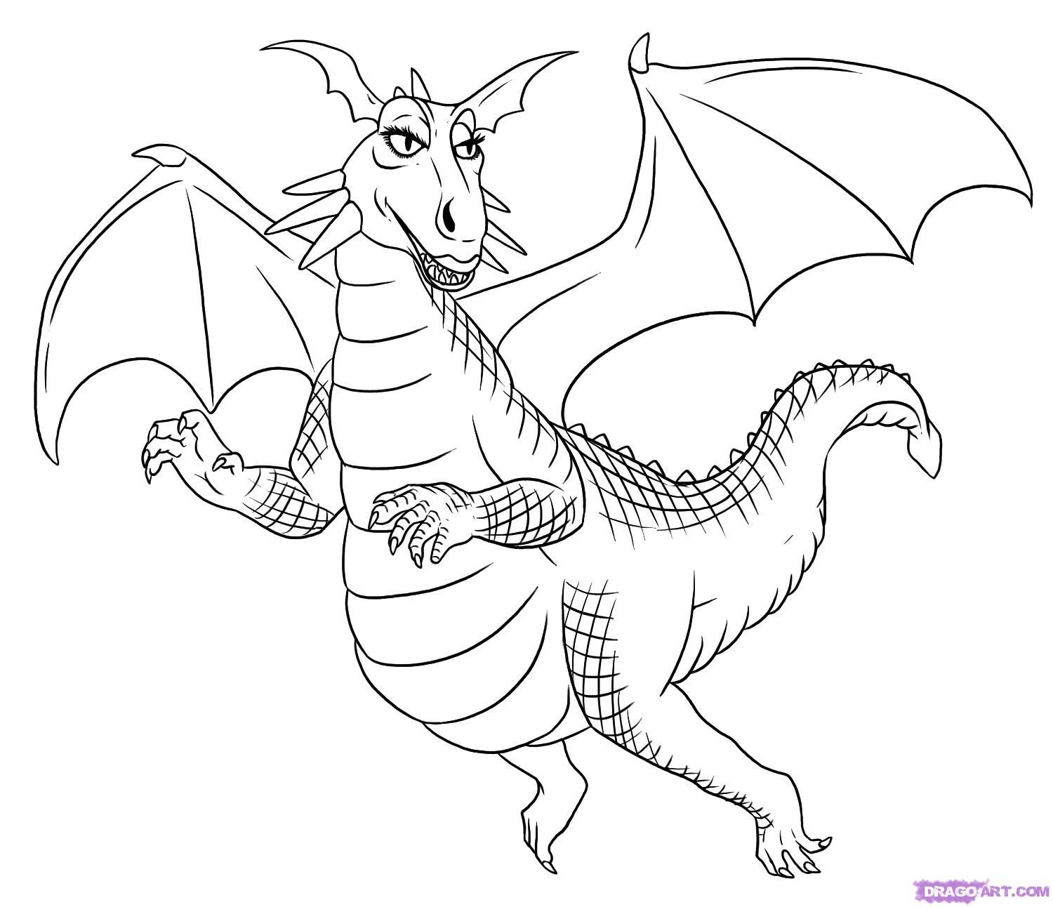 Coloring Dragon Which Flies In The Sky Picture Dragon Coloring