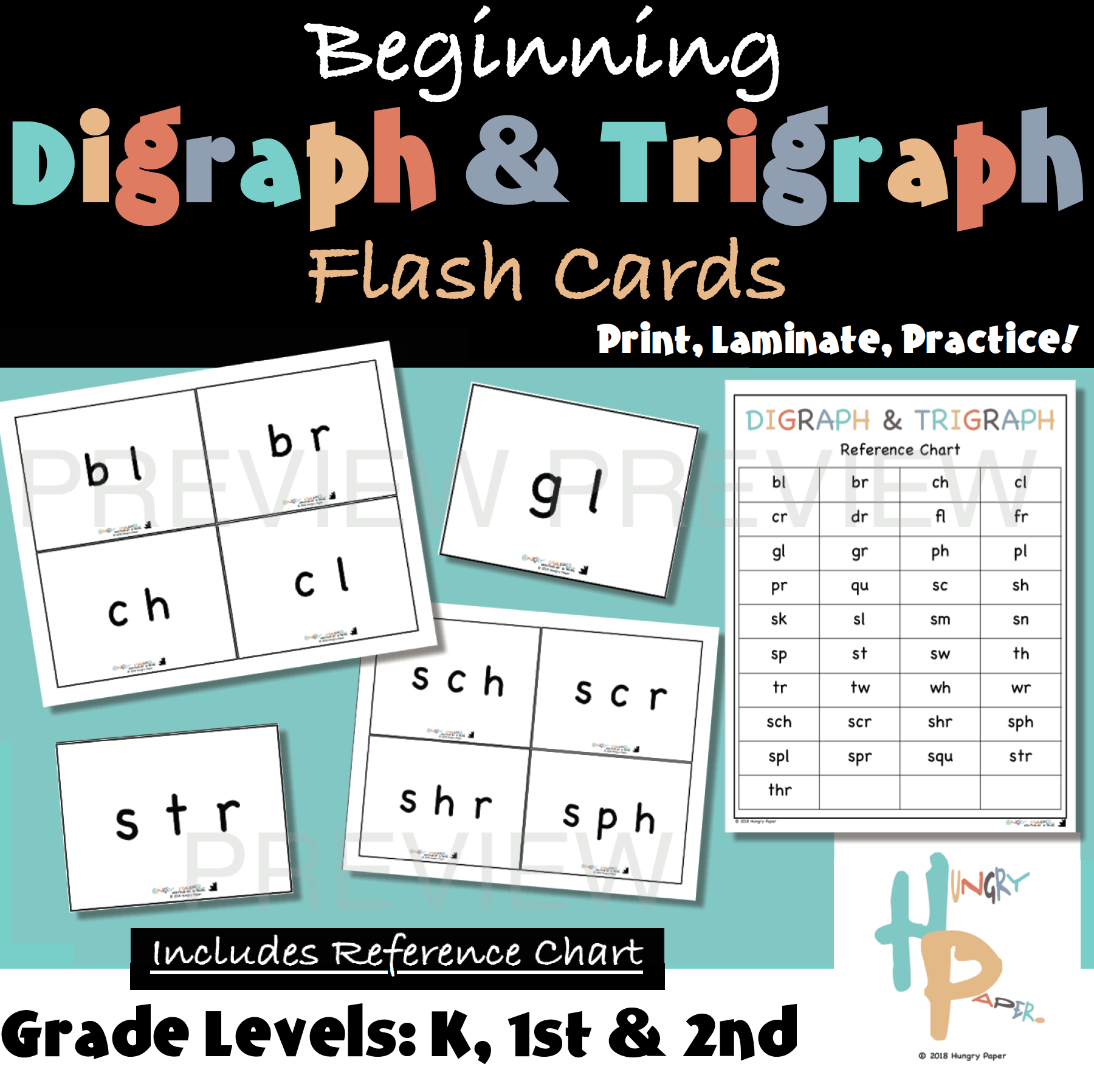 Beginning Digraph Amp Trigraph Flash Cards With Reference