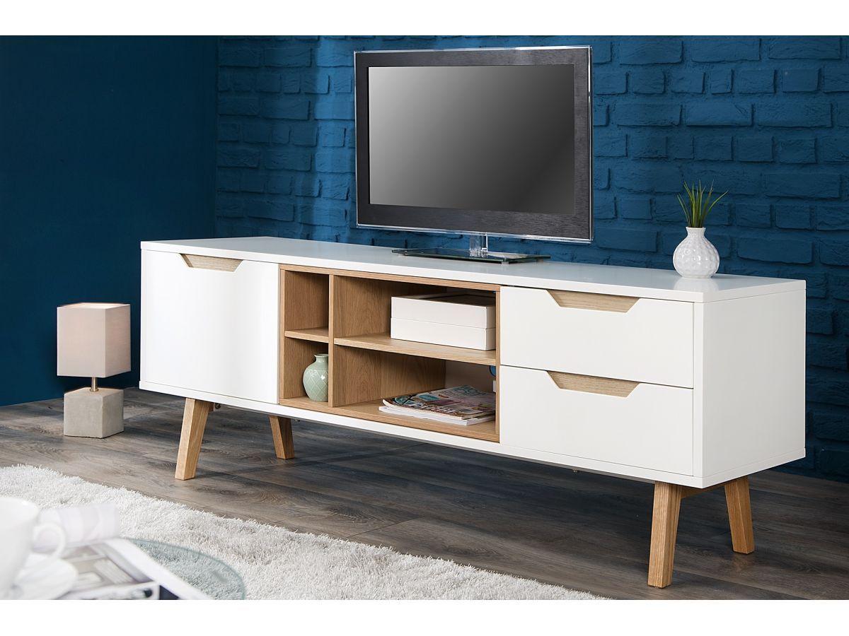 Szafka Rtv Nordic 150 Cm Bia O Drewniana 3 Living Room
