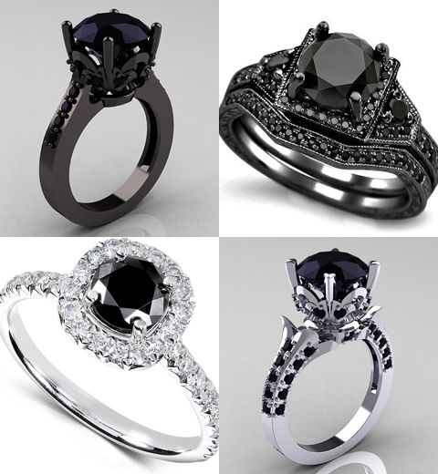 beautiful black diamond weeding rings top left the diva ring bottom left black and white love top right black widow ring and last bottom right the black - All Black Wedding Rings