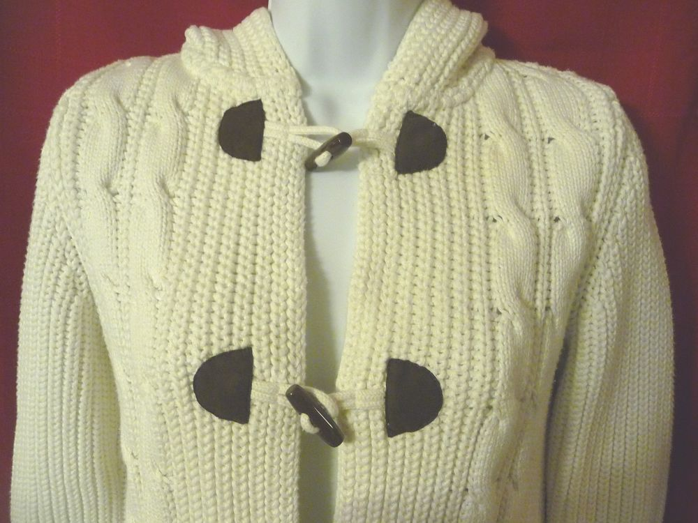 020b25adf8 Lands End Womens Long Sweater Cable Knit Hoodie Hooded XS 2 4 White 100%  Cotton #LandsEnd #Hooded
