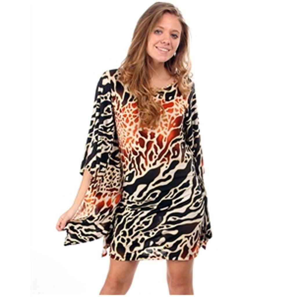 Women's Dress Orange Black Giraffe Printed Tunic Blouse Shirt Top | eBay