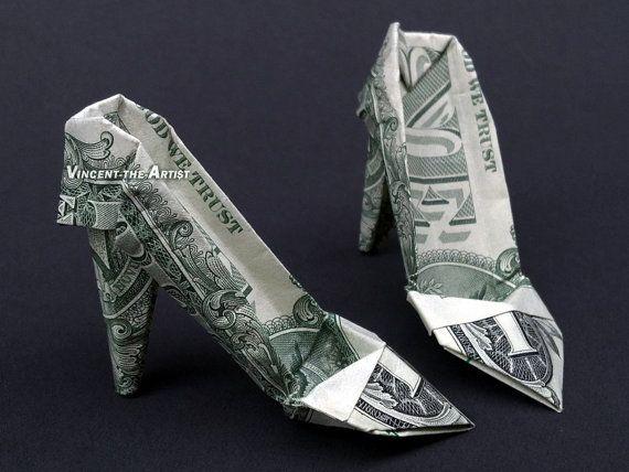e2ec2af3ec5274 HIGH HEELS Money Origami Art Shoe Clothes Dollar Bill Cash Sculptors ...