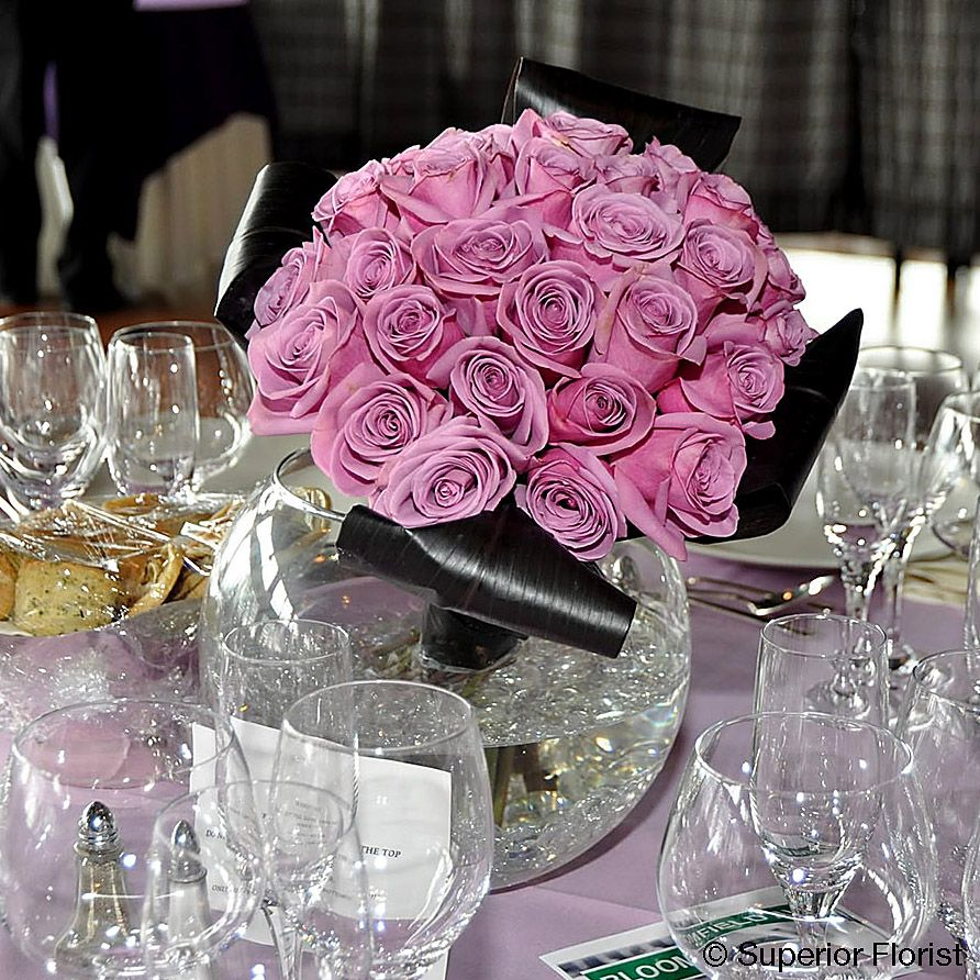 Celebrity Wedding Flowers Centerpieces: Centerpieces: Angled Cluster Of
