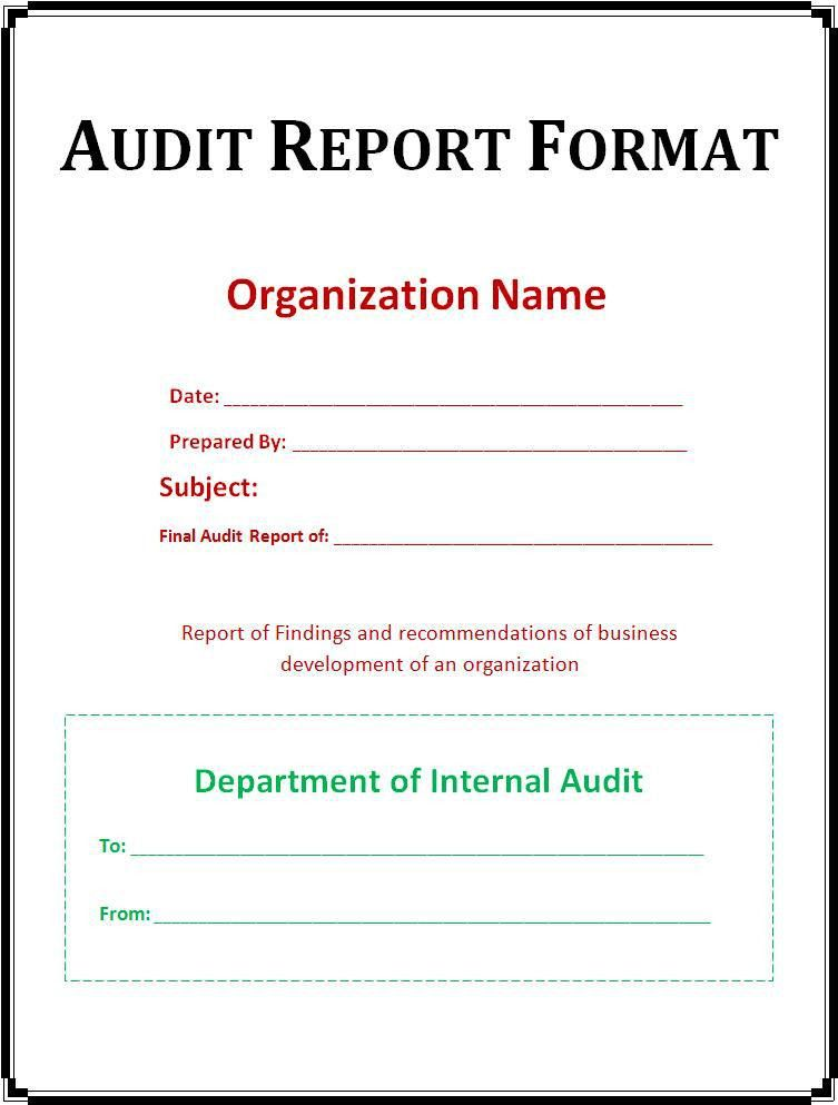 Internal Audit Report Template Word Imagen Sampleresume