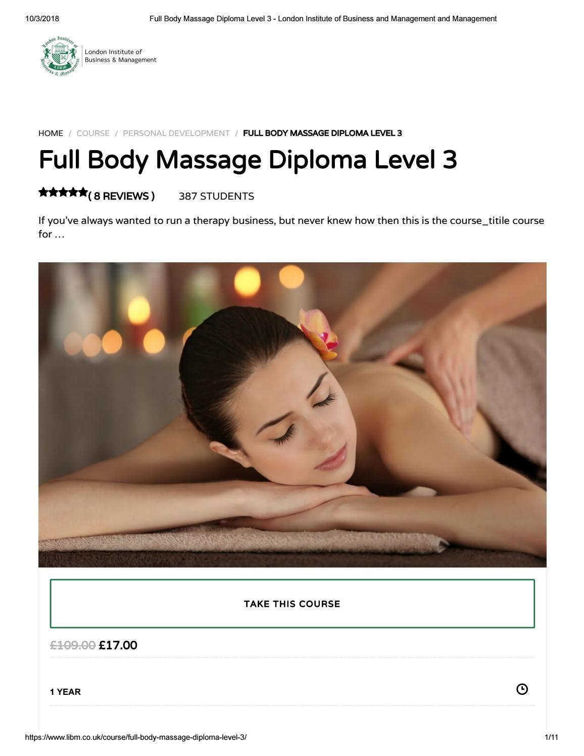 Full Body Massage Diploma Level 3 - LIBM