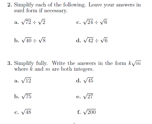 Surds 2: A worksheet with questions on surds. Detailed ...
