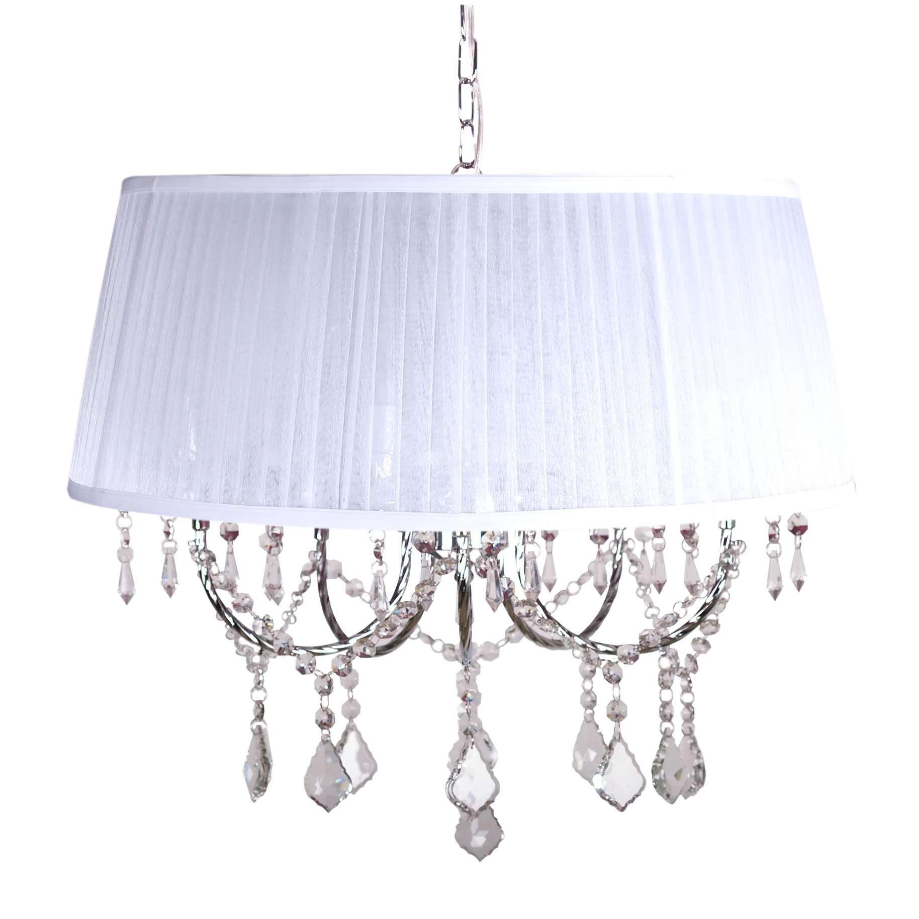 Biała abażurowa lampa z kryształkami będzie idealnym uzupełnieniem wymarzonej przez ciebie aranżacji mlamp