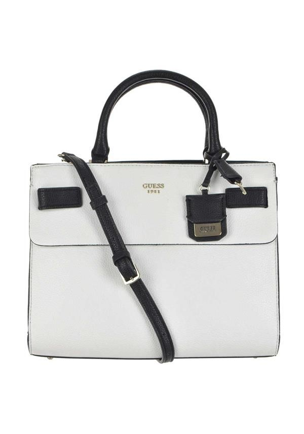 Guess Cate Satchel Bag, White   Black   Satchels, Department store ... 1d31f23307