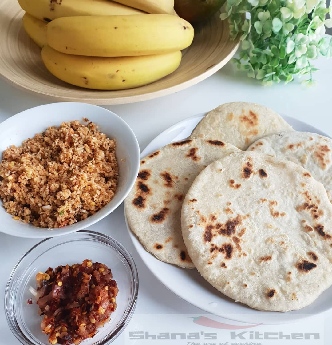 Sri Lankan Coconut Roti Or Pol Roti A Flat Bread Made Up Of Flour Freshly Grated Coconut With Finely Chopped Green Chillies And Onions For Extra Texture This