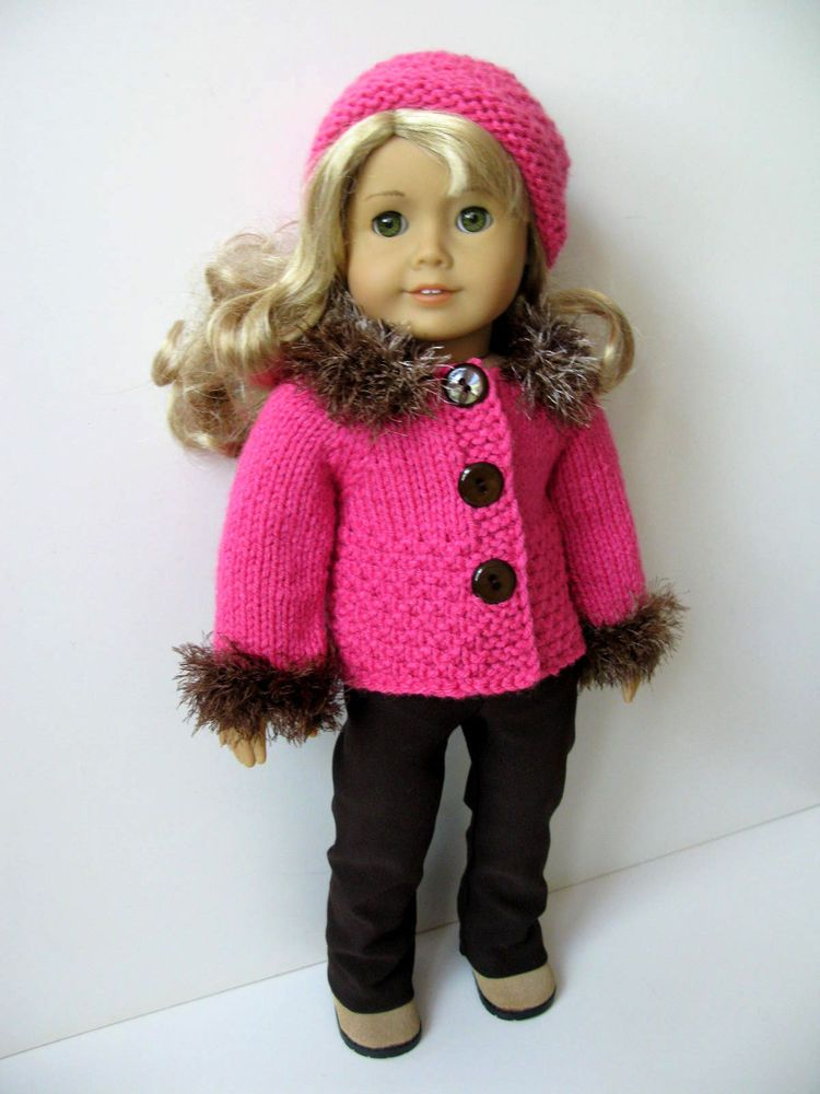 3 Pc Hand Knit Doll Sweater Set For American Girl Gotz Knitted 18