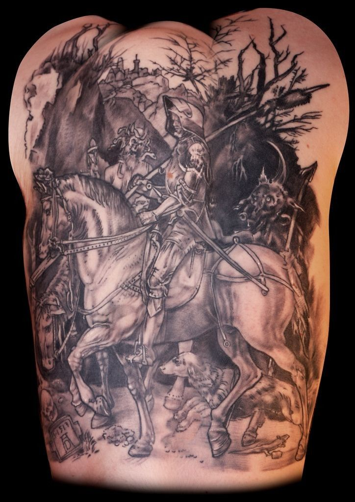 Medieval warrior in armor on horseback tattoo on back for Medieval armor tattoo
