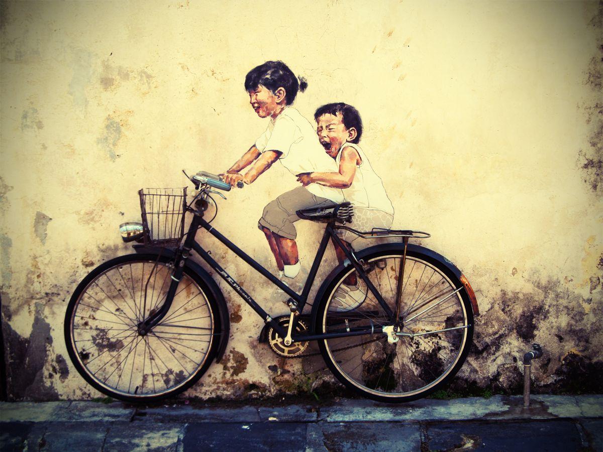 Penang Street Art (Children on a Bicycle)   Street art, Amazing ...