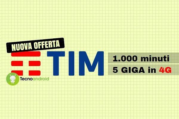 Nuova offerta TIM Five Go: 1000 minuti e 5 Giga in 4G a soli 7 euro - TIM Five Go: i dettagli della nuova offerta Stando ad alcune indiscrezioni provenienti da una fonte piuttosto accreditata, da oggi 27 febbraio 2017 sarà possibile attivare una nuova offerta: TIM Five Go. Questa promozione ideata da TIM sarebbe attivabile da tutti gli utenti che provengono da un... -  https://goo.gl/bLYlM4 - #Offerte, #PromozioniTim, #Tim