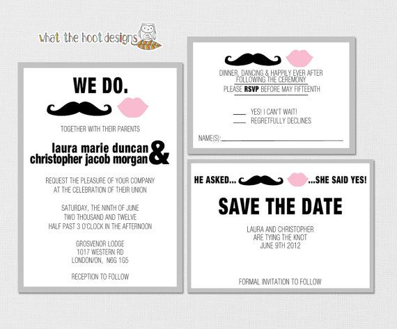 Printable Diy Wedding Invitation Response Card And Save The Date Set Mustache