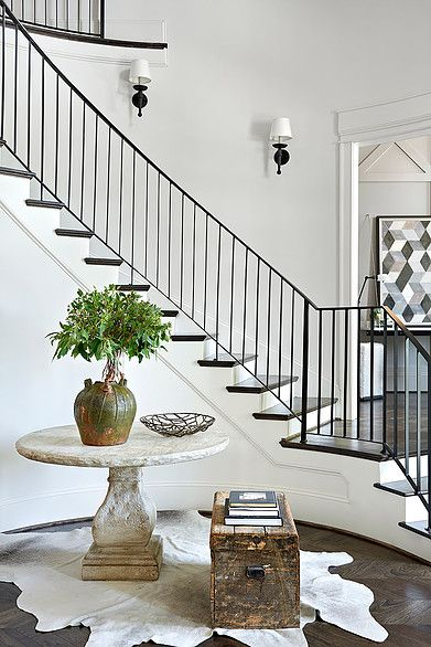 Simple Iron Stair Railing With White Alls And Mouldings Desire