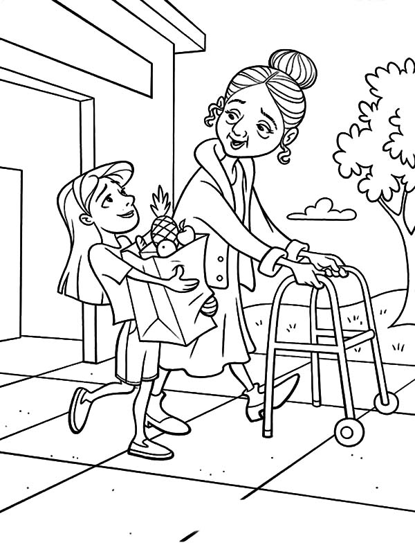 Kindness Is Helping Old People To Carry Their Bag Coloring Pages Kids Play Color In 2021 People Coloring Pages Cute Coloring Pages Coloring Pages
