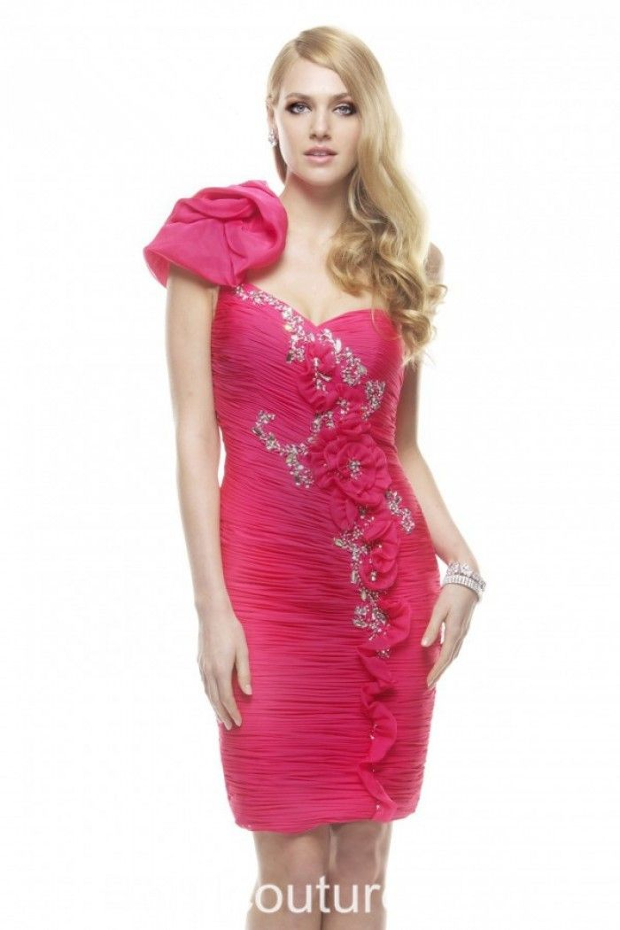Flower Hot Pink Short Dresses
