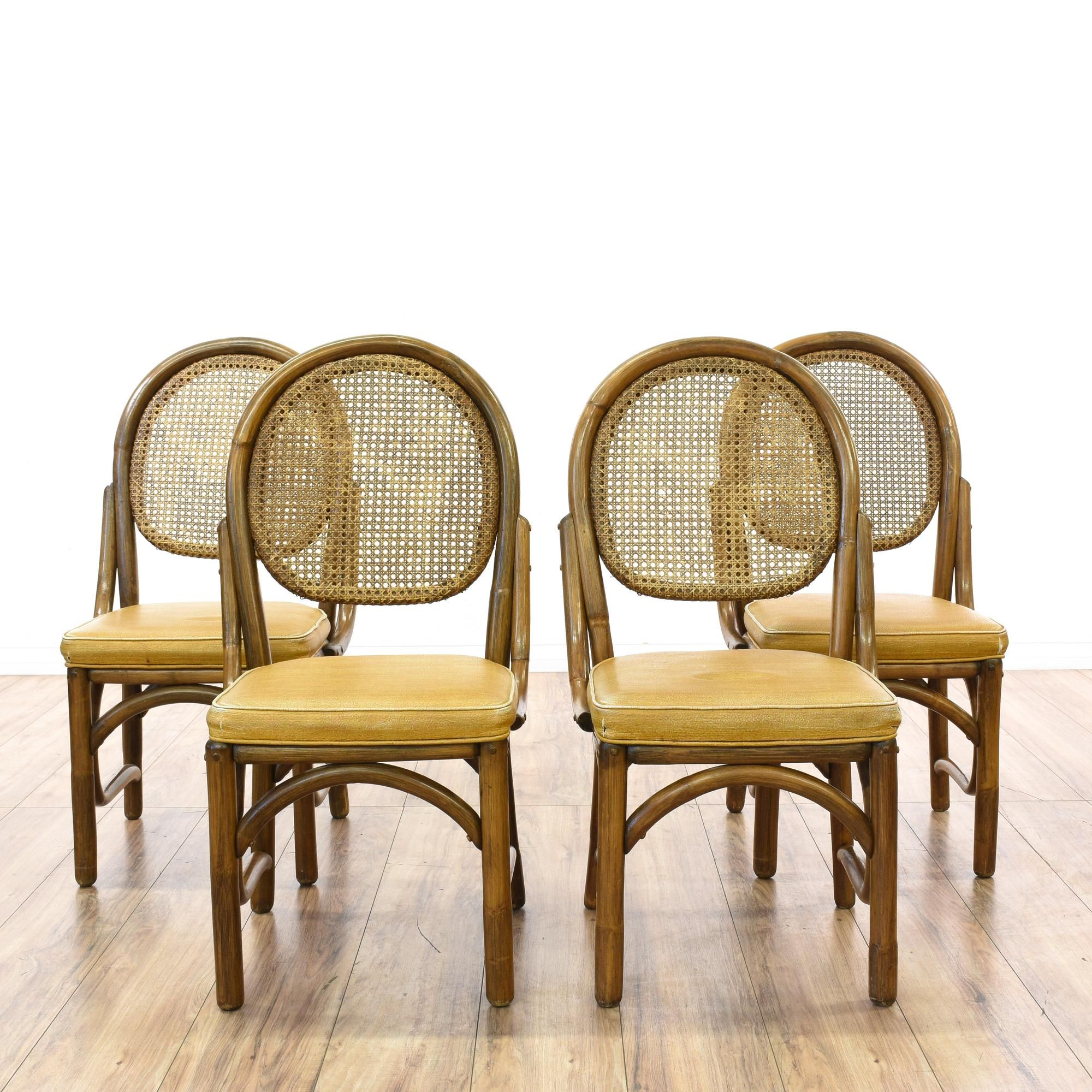 Set 4 Rattan Cane Back Dining Chairs