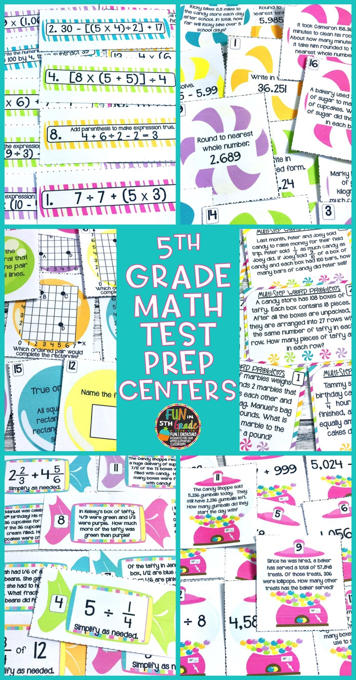 Math Test Prep Review Centers or Stations {Review of 5th Grade Math ...