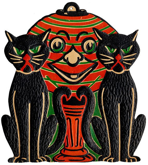 Black Cats with Lantern - 1940\u0027s Halloween decoration Cute - vintage halloween decorations