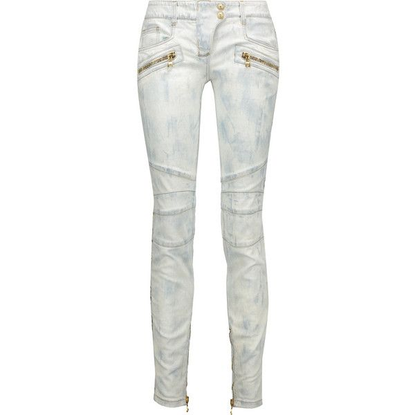 Blanc Mi-hauteur Jeans Skinny Balmain XBeXUws0Y