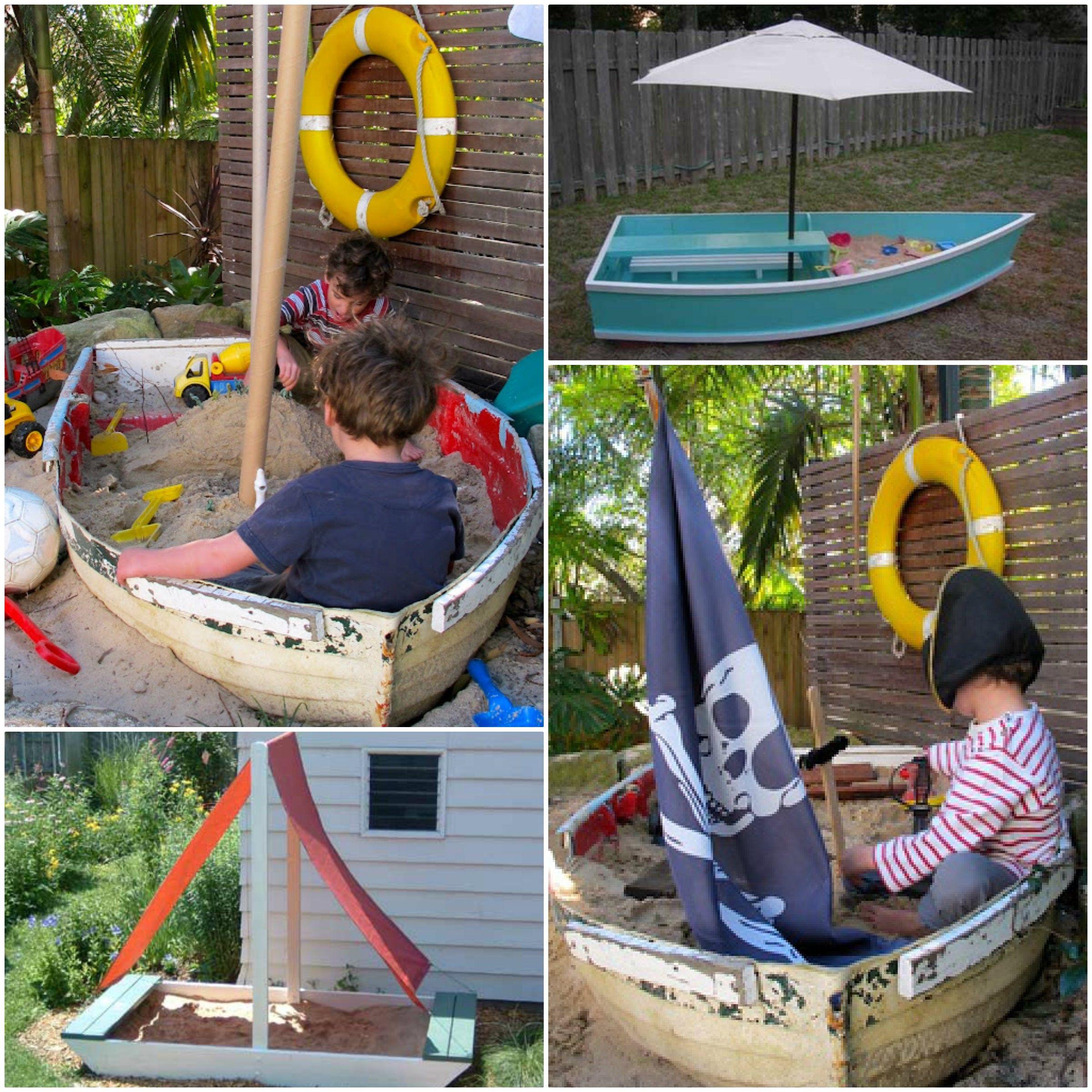 boat sandpit Kids play Sand pit, Diy boat, Kids play area
