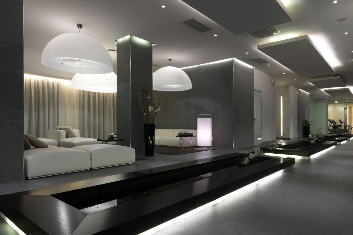 Contemporary Lounge Lighting Interior Coffered Ceiling Design ...