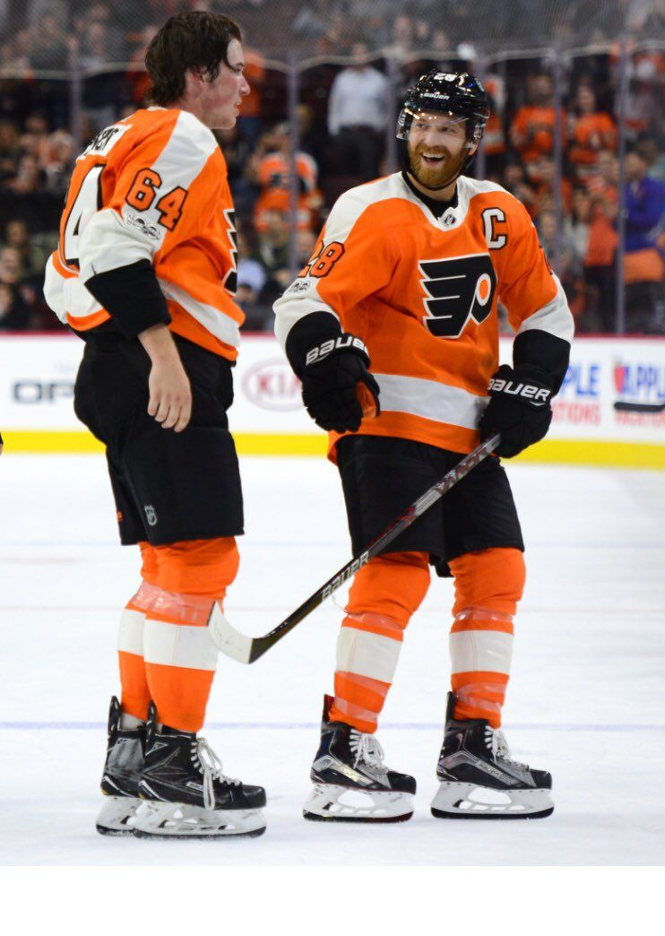 8534a604d06 Nolan Patrick and Claude Giroux Nhl Flyers, Philadelphia Flyers, Proud Dad,  Hockey Stuff