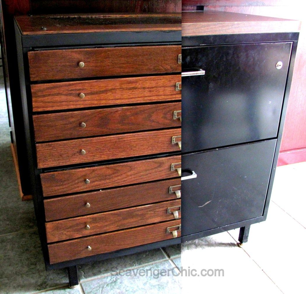 Steel File Cabinet Makeover   Faux Architectural Flat File Cabinet
