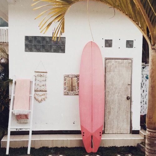 pink surfboard