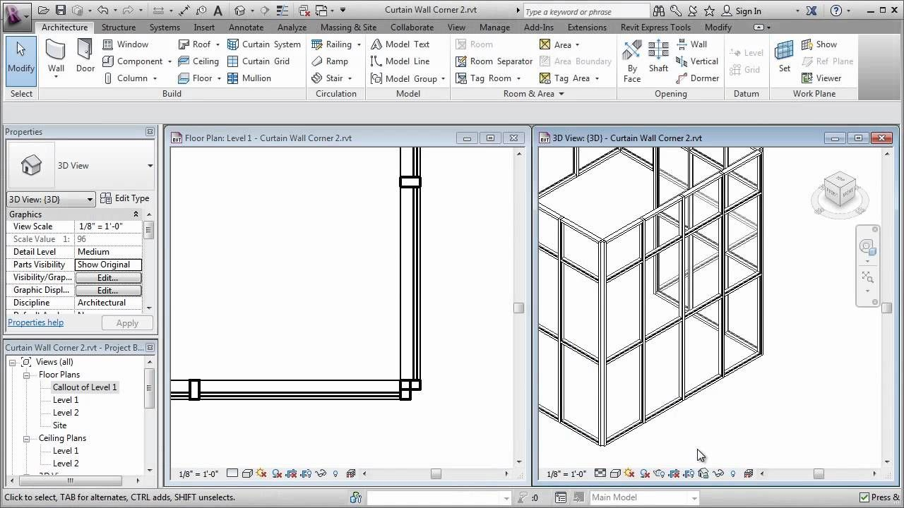 Curtain Wall Corner Mullions Curtain Wall Building Information Modeling Revit Tutorial