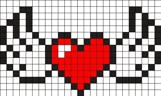 Heart With Wings Perler Bead Pattern / Bead Sprite  #heart #pattern #perler #sprite #wings