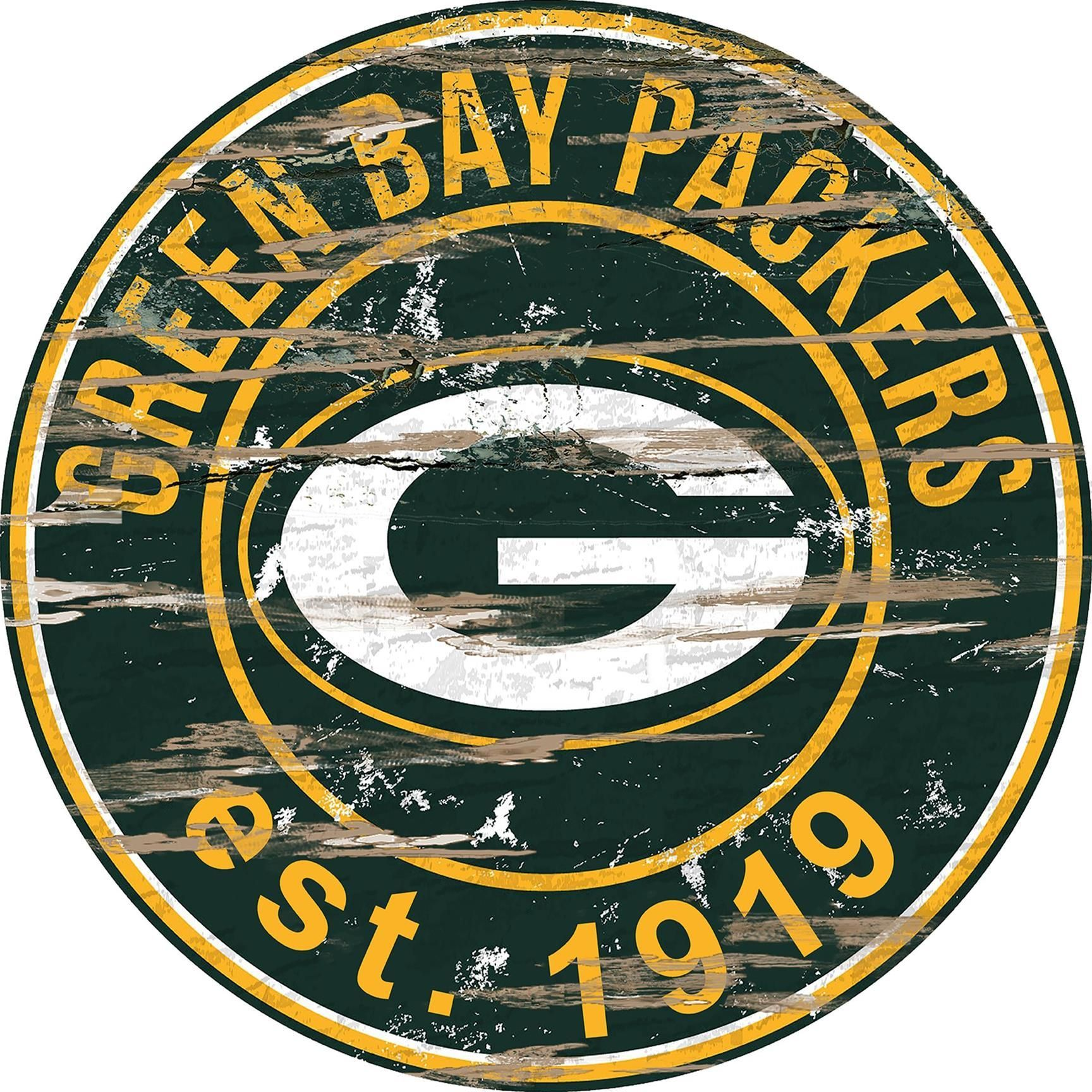 Green Bay Packers Distressed 24 Round Sign Nfl Green Bay Green Bay Packers Green Bay Packers Fans